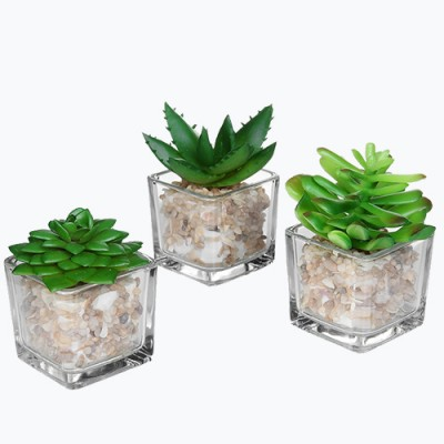 4 inch Realistic Artificial Green Succulent Plant Arrangement