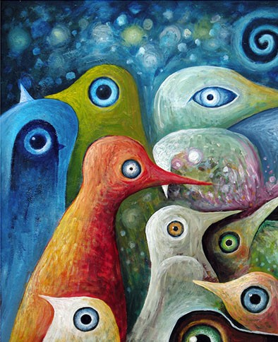 Design Art OL1221 4-Panel Love Birds Abstract Oil Painting by Alice.Eric