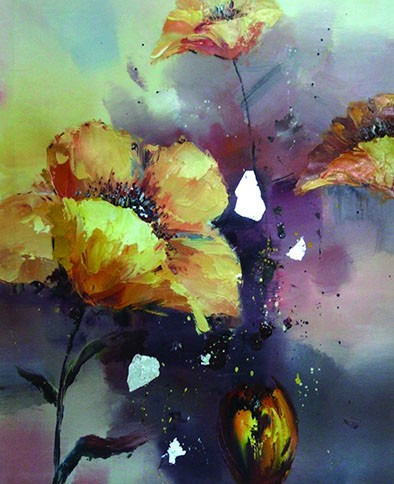 Caroyla Hand-painted Oil Painting Home Decor Big White Flower no frame Painting by Caroyla