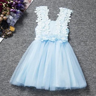 White Flowers Lace Girls Bow Party Dance Princess Tutu Dress Skirts