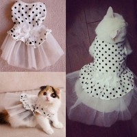 Bridal Wedding Dress Small Dog Flower Tutu Ball Gown Puppy Dot Skirt Doggy Photo Apparel Stretchy Clothes
